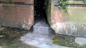 Raw human sewage coming from an outfall at the Wealdstone Brook, Brent